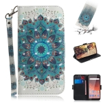 3D Colored Drawing Peacock Wreath Pattern Horizontal Flip Leather Case for Nokia 1 Plus, with Holder & Card Slots & Wallet