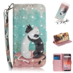 3D Colored Drawing Cats Pattern Horizontal Flip Leather Case for Nokia 1 Plus, with Holder & Card Slots & Wallet