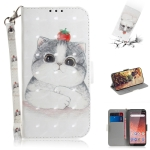 3D Colored Drawing Cute Cat Pattern Horizontal Flip Leather Case for Nokia 1 Plus, with Holder & Card Slots & Wallet