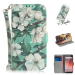 3D Colored Drawing Watercolor Flower Pattern Horizontal Flip Leather Case for Nokia 1 Plus, with Holder & Card Slots & Wallet