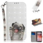 3D Colored Drawing Dog Pattern Horizontal Flip Leather Case for Nokia 1 Plus, with Holder & Card Slots & Wallet