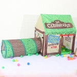 Household Children Printing Play Tent Small Game House with Passageway (Green)