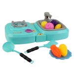 MoFun QC5B Electric Simulation Gas Stove Kids Toys Set with Watery Wash Vegetable Basin, Support Colorful Lights & Ringtone & Fogging Function (Green)