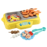 MoFun QC7B Electric Simulation Rotating Hot Pot with Ringtone Function + Grill with Fogging & Colorful Lights Function Kids Toys Set(Yellow)