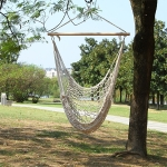 Aotu AT6732 Outdoor Cotton Rope Net Swing Frame Hanging Chair Hammock, Size: 130x90cm