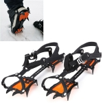 Aotu AT8701 One Pair 10 Teeth Anti-Slip Ice Gripper Snow Climbing Shoes Covers (Orange)