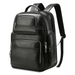 Bopai 851-019811 Large Capacity Anti-theft Waterproof Leathar Backpack Laptop Tablet Bag for 15.6 inch and Below, with USB Charging Port(Black)