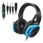 SADES R17 3.5mm Wired Adjustable Gaming Headphone with Retractable Microphone & 1 to 2 3.5mm Audio Cable, Length: 1.5m (Black Blue)