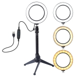 PULUZ 4.6 inch USB 3 Modes Dimmable LED Ring Vlogging Photography Video Lights + Desktop Tripod Holder with Cold Shoe Tripod Ball Head