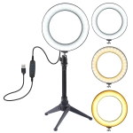PULUZ 6.2 inch USB 3 Modes Dimmable LED Ring Vlogging Photography Video Lights + Desktop Tripod Holder with Cold Shoe Tripod Ball Head