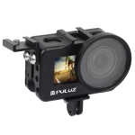 PULUZ Housing Shell CNC Aluminum Alloy Protective Cage with 52mm UV Lens & Cold-shoe Base & Base Adapter for DJI Osmo Action(Black)