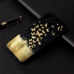 Gold Butterfly Painted Pattern Soft TPU Case for Galaxy A30