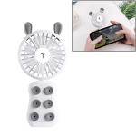 CYKE HND-03 DC 5V USB Portable Foldable Cartoon Rabbit Shaped Suction Cup Mini Fan with Stand & LED Light (Grey)