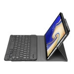 A510 Bluetooth 3.0 Ultra-thin Detachable Bluetooth Keyboard Leather Case for Samsung Galaxy Tab A 10.1 (2019) T510 / T515, with Pen Slot & Holder (Black)