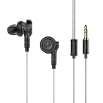 UiiSii BA-T9 Universal HIFI Double Moving Iron + Double Moving Coil Drivers Silver Plating In-Ear Earphone (Black)
