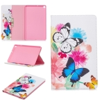 Colored Drawing Two Butterflies Pattern Horizontal Flip Leather Case for Galaxy Tab A 10.1 (2019) T510 / T515, with Holder & Card Slots & Wallet