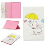 Colored Drawing Elephant under the Umbrella Pattern Horizontal Flip Leather Case for Galaxy Tab A 10.1 (2019) T510 / T515, with Holder & Card Slots & Wallet