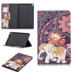 Colored Drawing Flower Elephant Pattern Horizontal Flip Leather Case for Galaxy Tab A 10.1 (2019) T510 / T515, with Holder & Card Slots & Wallet