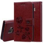 Rose Embossed Horizontal Flip PU Leather Case for Galaxy J2 Core, with Holder & Card Slots & Wallet (Brown)