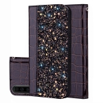Crocodile Texture Glitter Powder Horizontal Flip Leather Case for Galaxy A70, with Card Slots & Holder (Black)
