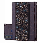 Crocodile Texture Glitter Powder Horizontal Flip Leather Case for Galaxy A40, with Card Slots & Holder (Black)