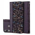 Crocodile Texture Glitter Powder Horizontal Flip Leather Case for Galaxy A20E, with Card Slots & Holder (Black)