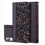 Crocodile Texture Glitter Powder Horizontal Flip Leather Case for Galaxy A2 Core, with Card Slots & Holder (Black)