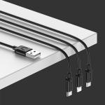 USAMS US-SJ324 Micro USB + 8 Pin + USB-C / Type-C One-piece Charging Cable, Length: 1.2m(Black)