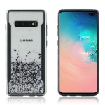 Carbon Gold Glitter Powder Shockproof Protective Case for Galaxy S10+(Black)