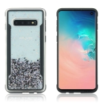 Carbon Gold Glitter Powder Shockproof Protective Case for Galaxy S10(Black)