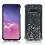 Carbon Gold Glitter Powder Shockproof Protective Case for Galaxy S10 Lite(Black)