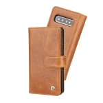Pierre Cardin PCL-P09 Horizontal Flip Leather Case for Galaxy S10, with Card Slot & Wallet(Brown)