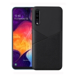 Ultra-thin Shockproof Soft TPU + Leather Case for Galaxy A50 (Black)