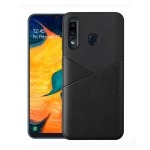 Ultra-thin Shockproof Soft TPU + Leather Case for Galaxy A60 (Black)