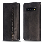 Calf Texture Zipper Magnetic Horizontal Flip Leather Case for Galaxy S10, with Wallet & Holder & Card Slots (Black)