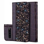 Crocodile Texture Glitter Powder Horizontal Flip Leather Case for Galaxy S10 (5G), with Card Slots & Holder (Black)