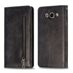 Calf Texture Zipper Magnetic Horizontal Flip Leather Case for Galaxy J710, with Wallet & Holder & Card Slots (Black)