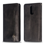 Calf Texture Zipper Magnetic Horizontal Flip Leather Case for Galaxy J8 (2018), with Wallet & Holder & Card Slots (Black)