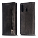 Calf Texture Zipper Magnetic Horizontal Flip Leather Case for Galaxy A30, with Wallet & Holder & Card Slots (Black)