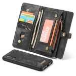 CaseMe Detachable Multifunctional Retro Frosted Horizontal Flip Leather Case for Galaxy A50, with Card Slot & Holder & Zipper Wallet & Photo Frame(Black)