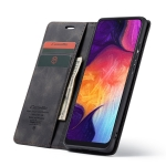 CaseMe Multifunctional Retro Frosted Horizontal Flip Leather Case for Galaxy A50, with Card Slot & Holder & Zipper Wallet & Photo Frame (Black)