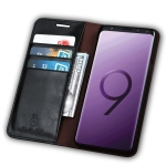 MUSUBO S3 Crazy Horse Texture Horizontal Flip PU Leather Case for Galaxy S9+, with Card Slots & Wallet (Black)