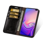 MUSUBO S3 Crazy Horse Texture Horizontal Flip PU Leather Case for Galaxy S10, with Card Slots & Wallet (Black)