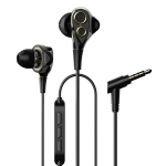 UiiSii T8 Universal Dual Dynamic Drivers In-Ear Wire-controlled Earphone with Microphone (Black)