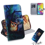 Oil Painting Owl Pattern Coloured Drawing Horizontal Flip Leather Case for Galaxy M20, with Holder & Card Slots & Wallet