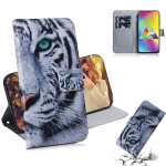 Tiger Pattern Coloured Drawing Horizontal Flip Leather Case for Galaxy M20, with Holder & Card Slots & Wallet
