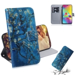 Apricot Flower Pattern Coloured Drawing Horizontal Flip Leather Case for Galaxy M20, with Holder & Card Slots & Wallet