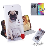 Pug Pattern Coloured Drawing Horizontal Flip Leather Case for Galaxy M20, with Holder & Card Slots & Wallet