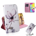 Magnolia Flower Pattern Coloured Drawing Horizontal Flip Leather Case for Galaxy M20, with Holder & Card Slots & Wallet