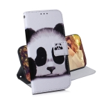 Panda Pattern Coloured Drawing Horizontal Flip Leather Case for Galaxy J6 Plus, with Holder & Card Slots & Wallet